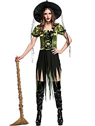 cheap -Witch Outfits Party Costume Adults' Women's Halloween Halloween Festival / Holiday Polyster Green Women's Carnival Costumes / Dress / Hat