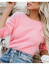 cheap -Women's Solid Colored Long Sleeve Pullover Sweater Jumper, Round Neck Black / White / Yellow S / M / L
