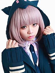 cheap -Dangan Ronpa Chiaki Nanami Cosplay Wigs Women's Bob Straight bangs 14 inch Heat Resistant Fiber kinky Straight Pink Pink Anime