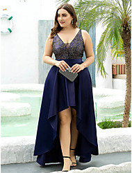 cheap -A-Line Mother of the Bride Dress Elegant Plus Size Illusion Neck Plunging Neck Asymmetrical Satin Polyester Sleeveless with Sequin 2020