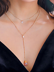 cheap -Women's Pendant Necklace Necklace Stacking Stackable Lucky Dainty Elegant Romantic Fashion Zircon Chrome Stone Gold 50 cm Necklace Jewelry 1pc For Wedding Engagement Birthday Party Beach Festival