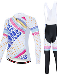 cheap -EVERVOLVE Men's Long Sleeve Cycling Jersey with Bib Tights Blue / White Black / White Polka Dot Plaid / Checkered Geometic Bike Clothing Suit Thermal / Warm Breathable 3D Pad Quick Dry Sweat-wicking
