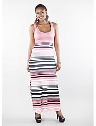 cheap -Women's Blushing Pink Blue Dress Sheath Striped Strap S M