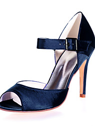 cheap -Women's Wedding Shoes Stiletto Heel Peep Toe Buckle Satin Minimalism Spring & Summer Black / White / Purple / Party & Evening