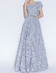 cheap -A-Line Luxurious Grey Engagement Prom Dress One Shoulder Sleeveless Floor Length Polyester with Sash / Ribbon Appliques 2020