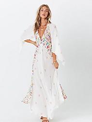cheap -Women's Maxi White Black Dress Loose Print Deep V S M