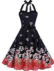 cheap -Women's Blushing Pink Blue Dress A Line Floral Halter Neck S M