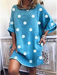 cheap -Women's Shift Dress - Polka Dot Black White Blue S M L XL
