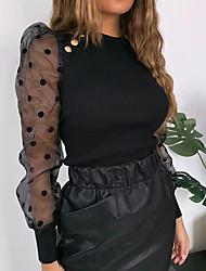 cheap -Women's Daily Basic / Sexy Blouse - Polka Dot Mesh Black