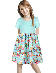 cheap -Kids Girls' Basic Cute Sun Flower Floral Color Block Patchwork Print Short Sleeve Knee-length Dress Light Green