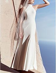 cheap -Sheath / Column High Neck Floor Length Satin Sleeveless Beach Plus Size Wedding Dresses with Draping 2020