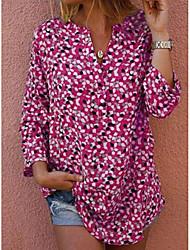 cheap -Women's Polka Dot Shirt Daily Shirt Collar Red / Yellow / Blushing Pink / Green