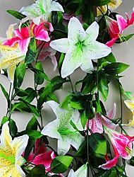 Недорогие -1 шт. Моделирование одного большого цветка лилии 2,4 м висят стены небольшой хуалянь украшения свадебной комнаты