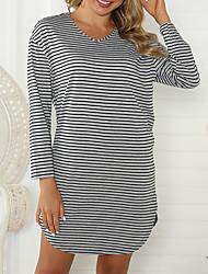 cheap -Women's Daily Casual Active A Line Dress - Striped Print Black Blushing Pink Orange S M L XL