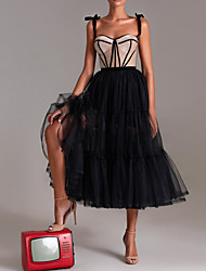 cheap -A-Line Sweetheart Neckline Tea Length Tulle Sexy / Black Cocktail Party / Formal Evening Dress with Pleats / Tier 2020