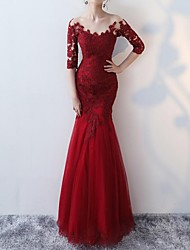 cheap -Mermaid / Trumpet Jewel Neck Floor Length Lace Half Sleeve Formal Red Wedding Dresses with Appliques 2020