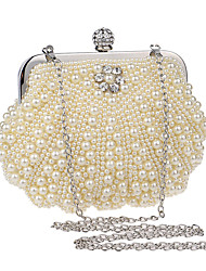 cheap -Women's Pearls Polyester Evening Bag Solid Color White / Milky White / Beige