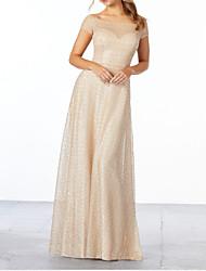 cheap -Sheath / Column Off Shoulder Floor Length Polyester Bridesmaid Dress with Pleats / Sequin / Sparkle & Shine