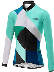 cheap -21Grams Women's Long Sleeve Cycling Jersey Spandex Polyester Black / Green Plaid Checkered Bike Jersey Top Mountain Bike MTB Road Bike Cycling UV Resistant Breathable Quick Dry Sports Clothing Apparel