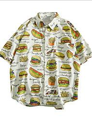 cheap -Men's Geometric Shirt Daily Standing Collar White / Black / Blushing Pink / Short Sleeve