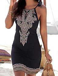 cheap -Women's Black Dress Sheath Print Strap S M