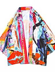 cheap -Men's Color Block Shirt Daily V Neck Orange