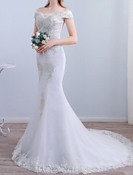 cheap -Mermaid / Trumpet Off Shoulder Sweep / Brush Train Tulle Short Sleeve Beach Wedding Dresses with Lace Insert / Embroidery 2020