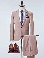 cheap -Men's Suits Notch Lapel Polyester Khaki