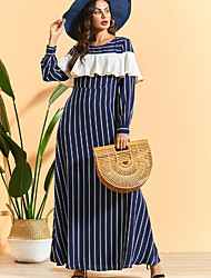 cheap -Women's Swing Dress - Striped Navy Blue M L XL XXL