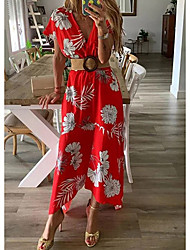 cheap -Women's Maxi Yellow Red Dress Spring Beach A Line Print V Neck Floral S M