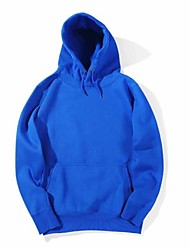 cheap -Men's Hoodie Solid Colored Hooded Casual White Black Blue Red Yellow Blushing Pink Gray US32 / UK32 / EU40 US36 / UK36 / EU44 US40 / UK40 / EU48 US44 / UK44 / EU52