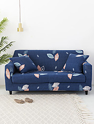 cheap -Navy Blue Leaves Print Dustproof All-powerful Slipcovers Stretch Sofa Cover Super Soft Fabric Couch Cover with One Free Pillow Case