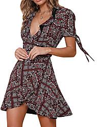 cheap -Women's A Line Dress - Print Wine Green Blue S M L XL