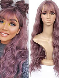 cheap -Synthetic Wig Curly Halloween Asymmetrical Wig Pink Long Pink Synthetic Hair 22 inch Women's Best Quality Pink