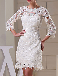 cheap -Sheath / Column Jewel Neck Knee Length Lace Long Sleeve Formal Little White Dress Wedding Dresses with Appliques 2020