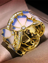 cheap -Women's Ring 1pc Gold Copper Imitation Diamond Round Stylish Gift Festival Jewelry Hollow Out Flower