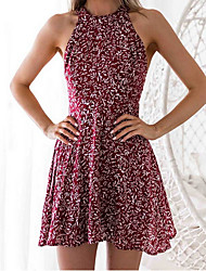cheap -Women's Sheath Dress - Polka Dot Wine S M L XL