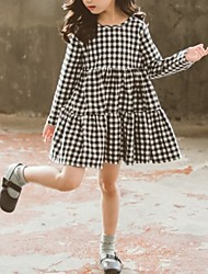 cheap -Kids Girls' Plaid Knee-length Dress Black