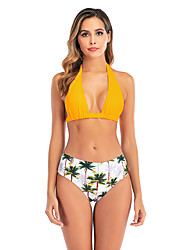 cheap -Women's Basic Boho Black Yellow Red Halter High Waist Bikini Swimwear Swimsuit - Floral Lace up S M L Black