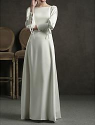 cheap -Sheath / Column Wedding Dresses Jewel Neck Floor Length Satin Long Sleeve Simple Elegant with Bow(s) 2020 / Bishop Sleeve