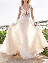 cheap -A-Line Wedding Dresses V Neck Sweep / Brush Train Tulle Polyester Long Sleeve Country Beach Plus Size Illusion Sleeve with Draping Appliques 2020