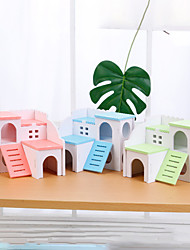 cheap -Hamster Hideout House Deluxe Two Layers Wooden Living Hut Small Animal Exercise Funny Nest Play Chews Toys Assembled Villa for Mouse Chinchilla Rat Gerbil Dwarf Hamster