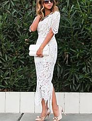 Недорогие -Жен. Ассиметричное Оболочка Платье - С короткими рукавами Однотонный Тонкие Белый S M L XL / Кружева