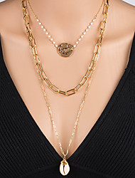 cheap -Women's Pendant Necklace Necklace Layered Necklace Stacking Stackable Shell Simple Classic Bohemian Trendy Imitation Pearl Chrome Shell Gold 65 cm Necklace Jewelry 1pc For Engagement Street Birthday
