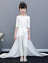 cheap -Pantsuit / Jumpsuit Chapel Train Wedding / Party Pageant Dresses - Polyester / Cotton Blend Half Sleeve Bateau Neck with Lace