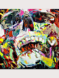 cheap -Palette Knife Portrait Skull Face Paintings Pop Art On Canvas Oil Painting Street Art Colorful Hand Painted Aall Art Picture Rolled Without Frame