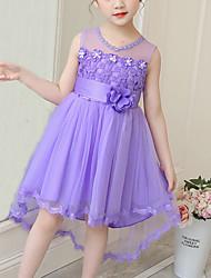 cheap -Kids Girls' Cute Floral Bow Mesh Patchwork Sleeveless Knee-length Dress White
