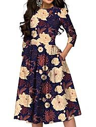 cheap -Women's Navy Blue Dress A Line Floral S M