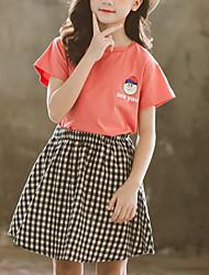 cheap -Kids Girls' Basic Daily Wear Black & White Check Solid Colored Cartoon Print Short Sleeve Regular Short Clothing Set White