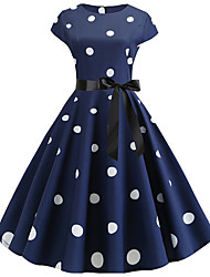 cheap -Women's A Line Dress - Short Sleeves Polka Dot Pleated Vintage Black Blue Red Navy Blue S M L XL XXL
